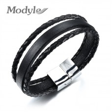 Modyle Fashion Bracelet Stainless Steel Black Multilayer Leather Bracelet Men Jewelry