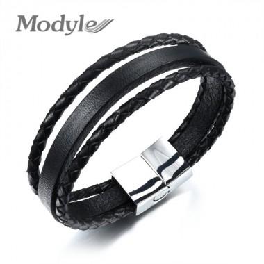 Modyle Fashion Bracelet Stainless Steel Black Multilayer Leather Bracelet Men Jewelry