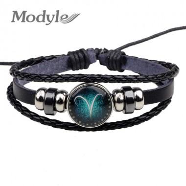 Modyle 2018 New Fashion 12 Constellation Bracelet Men Women Braided Leather Bracelets & Bangles