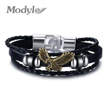 Modyle 2018 Cool Men Women Punk Genuine Leather Wrap Bracelet Fashion Eagle Charm Bracelet