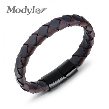 Modyle 2018 New Mens Weave Leather Chain Men Bracelet For Men Classic Bracelet Men Bangle Jewelry
