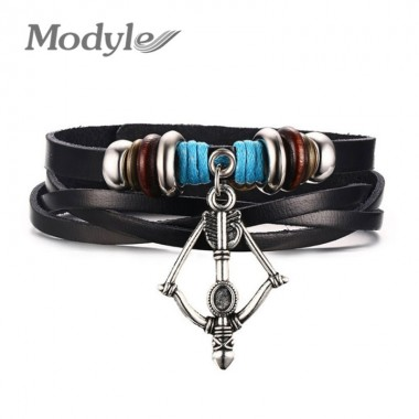 Modyle 2018 Punk Jewelry Classic Copper Bow and Arrow Leather Charm Bracelet & Bangles Alloy Men Bracelets Fashion Jewelry