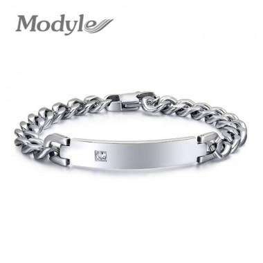 Modyle Promotion handmade stainless steel id bracelets bangle men jewelry high quality couple jewelry