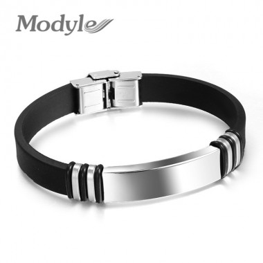 High Quality Men Bracelet Stainless Steel & Silicone Bracelet Men Jewelry Accessories Silicone Bracelet