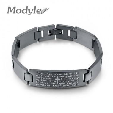 Modyle Personality Men Bracelet High Quality Black Stainless Steel Men Bracelets Jewelry Cross Pattern Wristbands