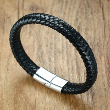 Modyle 2018 Men Jewelry Punk Black Braided Geunine Leather Bracelet Stainless Steel Magnetic Buckle Fashion Bangles