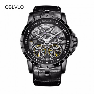 OBLVLO All Black Army Military Watches Transparent Double Tourbillon Mechanical Watches for Men Leather Watchband Watch OBL3606
