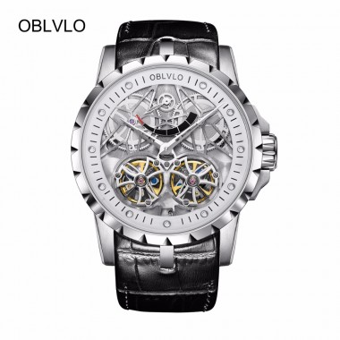2018 New OBLVLO Hollow Skeleton Watches Steel Waterproof Transparent Mechanical Watches for Men OBL3609