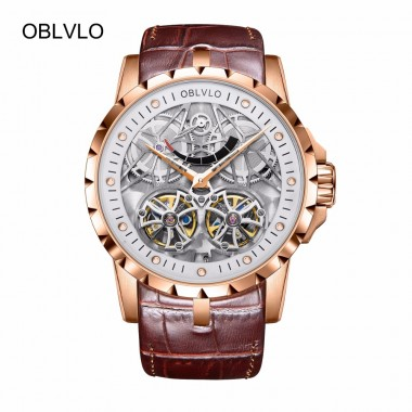 2018 New Design OBLVLO Brand Luxury Transparent Hollow Skeleton Watches for Men Tourbillon Rose Gold Automatic Watches OBL3609