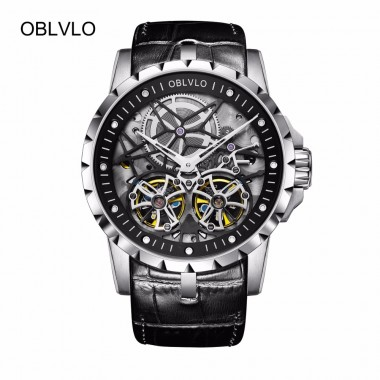 2018 New Designer OBLVLO Military Male Watches Steel Automatic Skeleton Waterproof Double Tourbillon Watches OBL3606