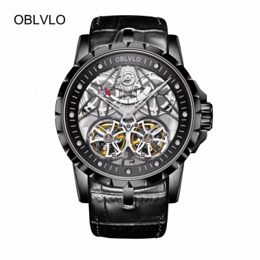 2018 New OBLVLO Mens All Black Watches with Tourbillon Power Reserve Transparent Automatic Watches Leather Strap OBL3609