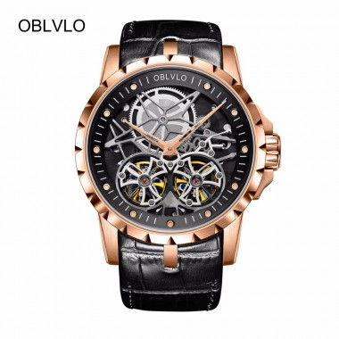 2018 New Arrival OBLVLO Luxury Rose Gold Transparent Watches Tourbillon Automatic Military Watches for Men OBL3606