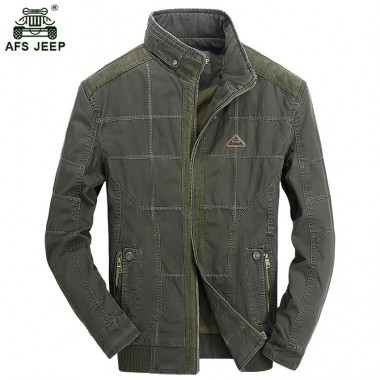 2018 New Style AFS JEEP Long Jacket Men 100 Cotton Casual Mens Jackets And Coats Loose Fashion Stylish 178zr