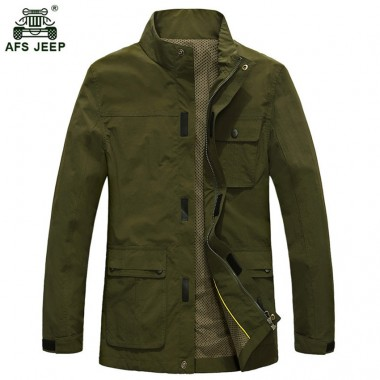 2018 Fashion Deign Mens Overcoats AFS JEEP Brand Mens Jackets Spring Autumn Outwear Jackets Hot Sale 135D