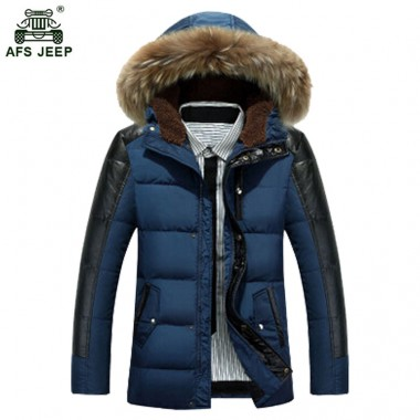 Free Shipping Branded Winter Super Warm Man's Cotton-padded jacket Big Fur Man Thicken Coat Style Men Winter Outwear 120hfx