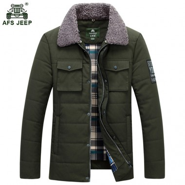 High Quality AFS JEEP! Casual Winter Jackets Men Cotton-Padded Jacket Thick Warm military Coat Hooded Windproof Parka 135wy