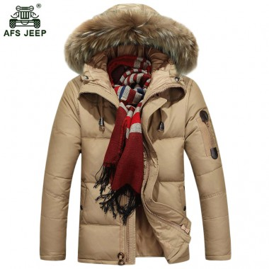 Free shipping Winter Thick Warm Duck Cotton-padded jacket Men Fur Collar Hooded Parkas Men warm Jackets Windbreaker Coats 120hfx