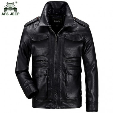 2018 Afs jeep New Spring Autumn Men Soft PU Leather Jacket Men Business Casual Coats Male hot sale size 3XL 150zr