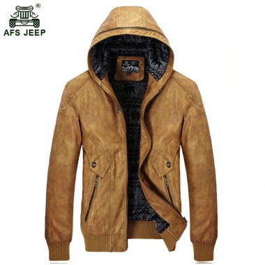 2018 Afs jeep New Men's Winter Moto PU Leather Jacket Casual Hooded Jackets Coat Men Thick Warm outerwear Overcoats 120zr