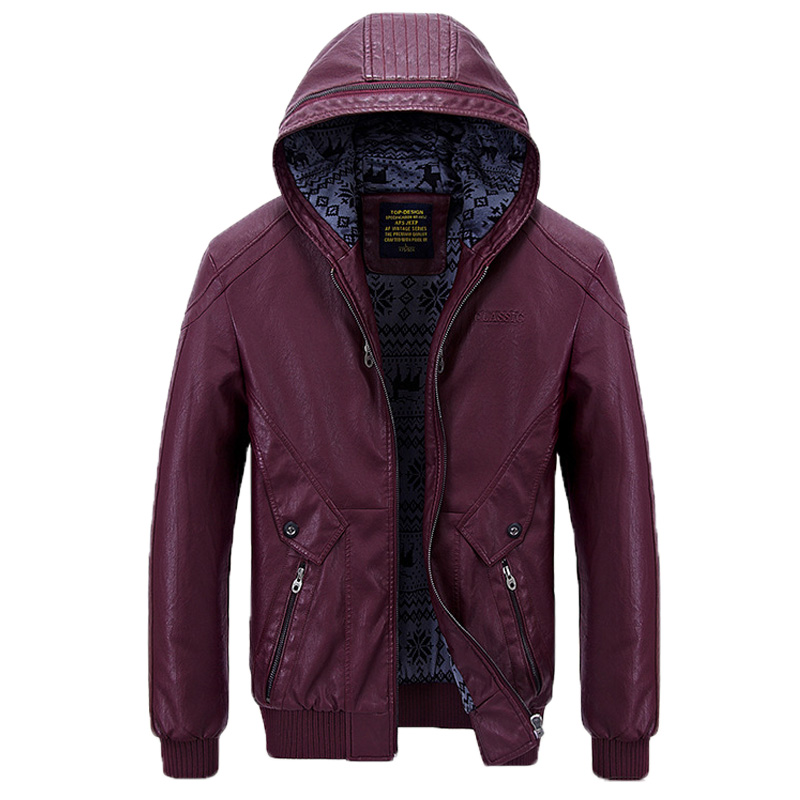 Winter Casual Business Thicken Zipper Pockets PU Leather Jackets for Men All s