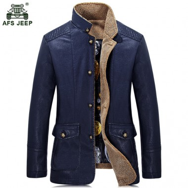 Afs jeep Brand 2018 Winter Autumn PU Leather Jacket Men Solid Color Stand Collar Casual fashion Leather Jacket Male 153zr