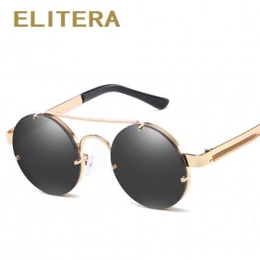 ELITERA Metal Round Steampunk Sunglasses Men Women Fashion Glasses Brand Designer Retro Frame Vintage Sunglasses High Quality