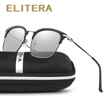 ELITERA New Square Sunglass Retro Classic Designer Men Sunglasses Alloy Polarized Sun Glasses Driving UV400 Oculos