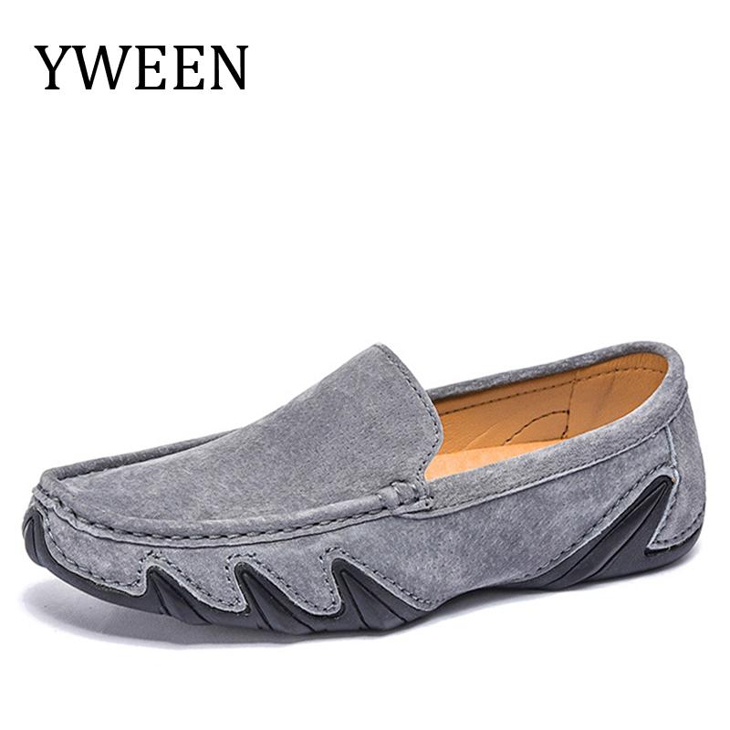 YWEEN Brand Split Leather Loafers Men's