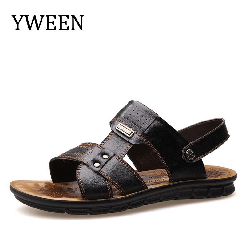 Summer Sandals Men Cow Split Leather Sandals Fashion Slippers Men Casual Beach Sandals Flip Flops,Black,7.5