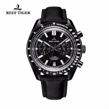 2018 New Reef Tiger/RT Designer Sport Watches with Chronograph Date Calfskin Nylon Strap Super Luminous Watch for Men RGA3033