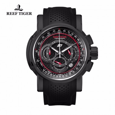 Reef Tiger/RT Outdoor Sport Quartz Watch with Chronograph Date Black Steel Rubber Strap Watches For Men RGA3063