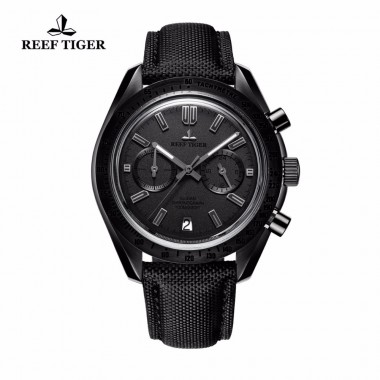2018 Reef Tiger/RT Mens Designer Chronograph Watch with Date Calfskin Nylon Strap Luminous Sport Watch RGA3033