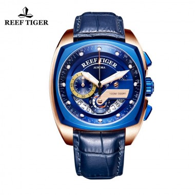 Reef Tiger/RT Top Brand Sport Watch for Men Luxury Blue Watches Leather Strap Waterproof Watch Relogio Masculino RGA3363