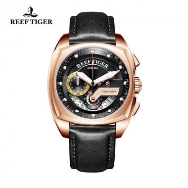 Reef Tiger/RT Top Brand Luxury Sport Watch Men Rose Gold Square Watches Waterproof Fashion Male Watch Relogio Masculino RGA3363