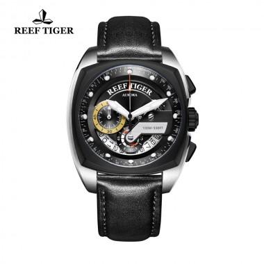 Reef Tiger/RT Top Brand Luxury Military Sport Watch Men Waterproof Fashion Quartz Watches Leather Band Male Clock RGA3363