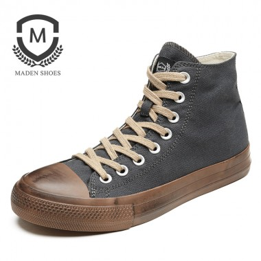 MADEN Autumn Winter Mens vulcanized shoes Vintage Style Ventilate Casual shoes Black Lace-Up Fashion Flat shoe