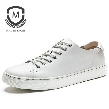 Maden Brand 2018 Spring New Mens Leather Shoes High Quality Flats Breathable comfortable Driving Shoes White shoe 4 color