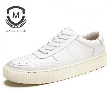 Maden 2018 Spring Men Shoes Mens Casual Shoes Breathable Fashion Flat Lace up Leather Shoes White Height Increasing Shoes