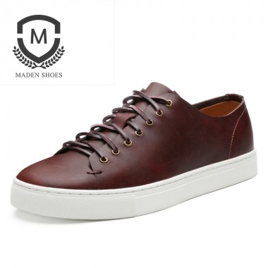 Maden Brand 2018 Spring Retro Mens Casual Shoes Handmade High Quality Leather Male Shoes Comfortable White Soft Flats shoes