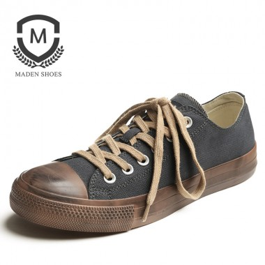 Maden Brand 2018 New Spring Vulcanized shoes Classic Designer Breathable Mens Casual Retro Style Comfortable Canvas Shoes Black
