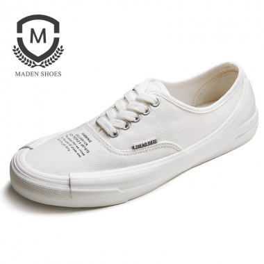 MADEN 2018 Spring New Vulcanized shoes Hand-Painted Breathable Fashion Canvas Shoes White Flat Lace up Male Shoes