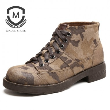 Maden Brand 2018 New Fashion Snow boots High Guality Leather Suede Camouflage Military Boots Retro Classic Mens Winter boots men