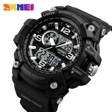 SKMEI Multi-function Men Sports Watches Fashion Chronograph Digital Quartz Dual Display Wristwatch Male Clock Relogio Masculino