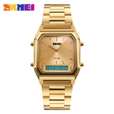 SKMEI 1220 Men Digital Quartz Watches Fashion Casual Stainless Steel Strap 2 Time Zone Chronograph Waterproof Man Sport Watch