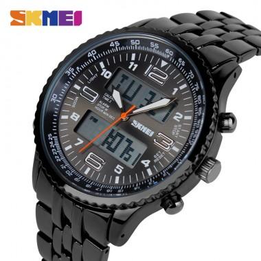 SKMEI Brand Watch Men LED Digital Watches Dual Display Wristwatches Stainless Steel Waterproof Relogio Masculino Relojes 1032