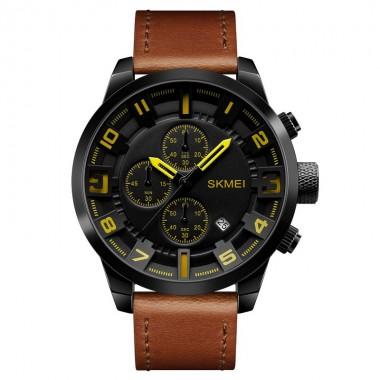 SKMEI Quartz Watches Men Big Dial Stopwatch Leather Strap 30M Waterproof Wristwatches Male Clock Watches Men Fashion Watch 2018