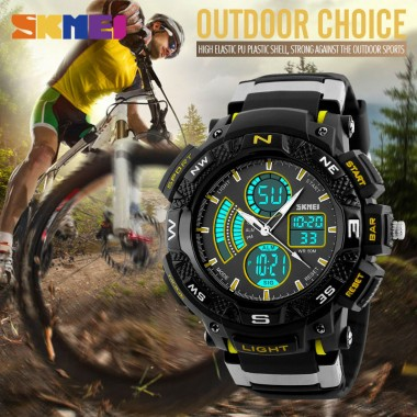 SKMEI 1211 Men Digital Quartz Watch Outdoor Sport Watches Fashion Big Dial Dual Time Zone Alarm Chronograph Man Wristwatches