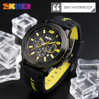 SKMEI 9136 Men Quartz Wristwatches Fashion Casual Brand Watches Silicone Strap Stop Watch Auto Date Man Clock Relogio Masculino