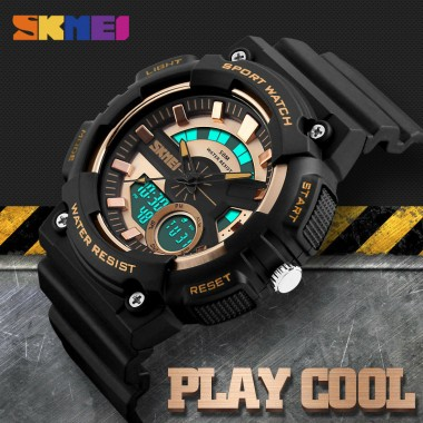 SKMEI Men Dual Display Wristwatches 4 Colors Waterproof Chronograph Clock Fashion Outdoor Sports Watches Relogio Masculino 1235