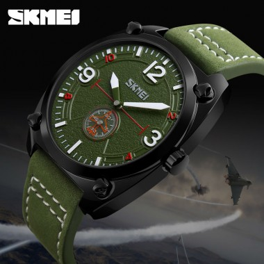 SKMEI Man Quartz Watch Men Clock Leather Male Fashion Casual Watches Relojes Waterproof Mens Wristwatches Relogio Masculino 9155
